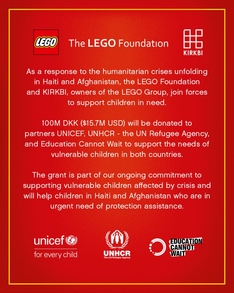 Turut Prihatin dengan Krisis Afghanistan dan Gempa Haiti, LEGO Sumbang 15 Juta Dolar Untuk Dukung Anak-Anak Pengungsi